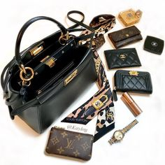 FENDI peekaboo and designer contents Lv Handbags, Luxury Handbags, Louis Vuitton Makeup Bag, Inside My Bag, What's In My Purse, Purse Essentials, Peek A Boo, Sacs Design, What In My Bag