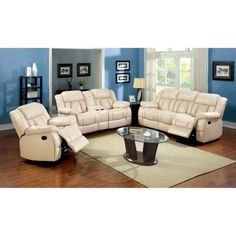 Furniture of America Rawene 3-Piece Bonded Leather Recliner Sofa Set - Ivory - IDF-6827-3PC