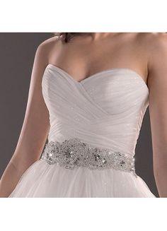 Elegant Ballgown Organza Sweetheart Ruffles And Crystal Chapel Train Wedding Dress