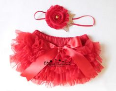 Gold and Red BABY BLOOMER and HEADBAND Set - Chiffon Ruffle Diaper Cover  - Baby Girl Bloomers - Baby Christmas Outfit - Newborn Photo Prop