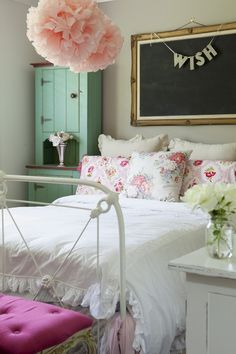 Elegant teen girls room. I simply ADORE the green cabinet, the coral hanging puff and the word on string..such lovely ideas.