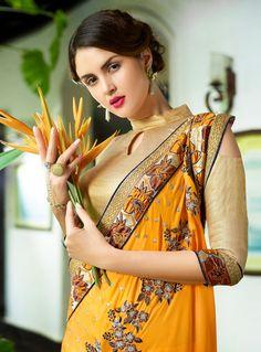 Sassy Orange and Yellow Designer Saree Golden Blouse Designs, Saree Blouse Designs, Saree Wearing Styles, Stylish Blouse Design, Saree Models, Curvy Girl Fashion, Women's Fashion, Beautiful Girl Image, Most Beautiful Indian Actress