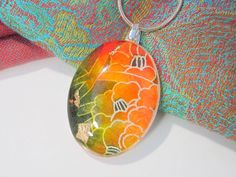 Japanese Yuzen Paper Collage Necklace by Chaerea on Etsy, $22.00