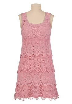 Tiered Crochet Tank Dress - maurices.com
