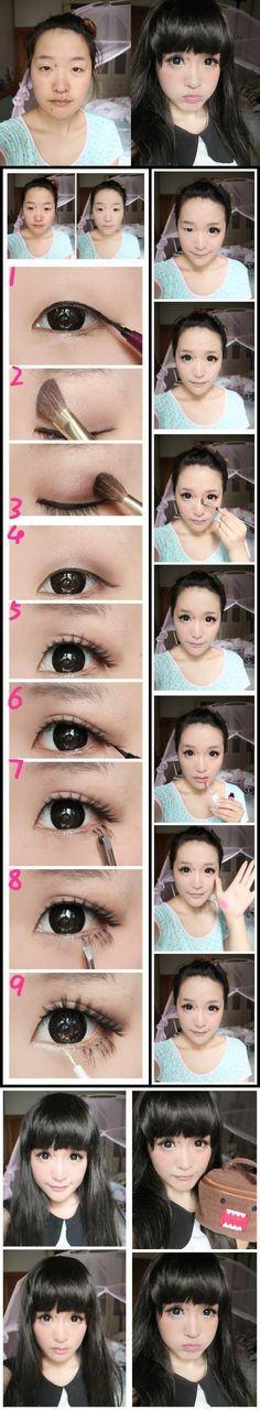 Monolid ulzzang makeup transformation by 灵鸾妮妮 Lingluan Nini Joelle: this never fails to amaze me. Gyaru Makeup, Ulzzang Makeup, Kawaii Makeup, Asian Eye Makeup, Cute Makeup, Makeup Looks, Hair Makeup, Anime Make-up, Beauty Makeup