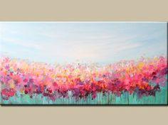 acryliques peinture abstraite art-fleurs-paysage - peinture abstraite peinture-fleurs-teal, turquoise-rose