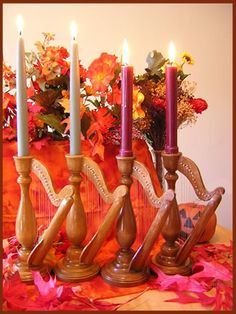 Beautiful Solid Wood Harp Candlesticks