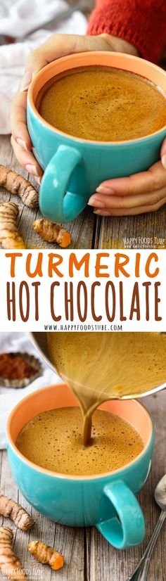 Love hot chocolate but looking for healthier option? Try Turmeric hot chocolate!… Love hot chocolate but looking for healthier option? Try Turmeric hot chocolate! This golden drink has anti-inflammatory properties and can be enjoyed in 5 minutes! Yummy Drinks, Healthy Drinks, Healthy Snacks, Yummy Food, Healthy Eating, Smoothie Drinks, Smoothie Recipes, Vegetarian Smoothies, Turmeric Recipes