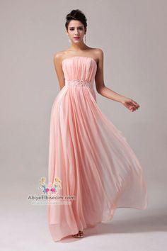 uzun abiye elbise strapless pembe