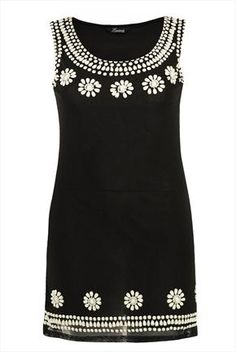 Black mesh dress with floral embellishment