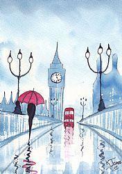 Rainy Day Blue London by Artist KJ Carr