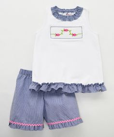 Look at this Silly Goose Blue Ladybugs Smocked Shorts & Top - Infant, Toddler & Girls on #zulily today!