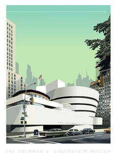 """Solomon R.Guggenheim Museum NYC--- ça faisait longtemps que je n'avais pas dessiné d'Architecture, et le Guggenheim de NY me démangait depuis quelque temps. De plus il n'existe pas de plus bel endroit à New York que ce Musée, Tous les building rectilignes qui l'entourent le mettent enore plus en valeur....Voici donc mon image du 29 mars 2010. Demain je m'attaque à la maison sur la Cascade """"the FallingWater House"""" du même Archi. Frank Lloyd Wright--Richard Zielenkiewicz"""