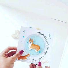 Corgi birthday card A cute corgi spinner card. Birthday Card Pop Up, Birthday Cards For Mom, Funny Birthday Cards, Birthday Greeting Cards, Cricut Birthday Cards, Happy Birthday Card Design, Bday Cards, Happy Birthday Cards Handmade, Creative Birthday Cards