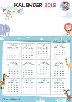 Tekenkalender voor kleuters 2019, free printable, kleuteridee