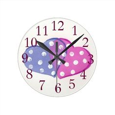 Double #hearts with polka dots wall #clock designed by ArianeC from CraftCafé . #homedecor #clock #valentinesday #polkadots