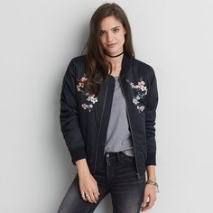 AE Embroidered Bomber Jacket ($70) ❤ liked on Polyvore featuring outerwear, jackets, black, flight jacket, embroidery jackets, embroidered bomber jacket, blouson jacket and flower print bomber jacket