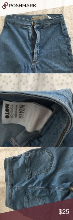 Topshop medium wash jeans Topshop size 24 jeans super stretchy, I would trade for a diff color or diff size up Topshop Jeans