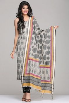 The Kurta And Leaf Pattern On Dupatta With Pink & Yellow Border