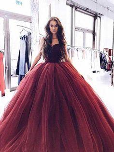 2018 Burgundy Strapless Ball Gown Beaded Long Custom Evening Prom Dresses, 17453