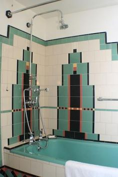 The art deco style is more present than ever today. People are interested in this centubry's style and usually design their bathrooms this way. But what is the art deco actually? Motif Art Deco, Art Deco Decor, Art Deco Design, Art Deco Tiles, Tile Art, Tile Design, Decoration, Art Deco Furniture, Furniture Design