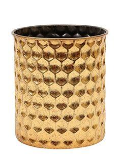"""Creative Co-Op Metal Honeycomb Pattern Pillar Holder Which Holds 4"""" Pillar, 5.25 x 6"""", Gold"""