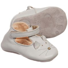 Easy Peasy Grey Leather Cat 'Loulou' Pre-Walker Shoes at Childrensalon.com