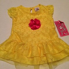 Yellow-Lace-dress-Pink-flower-embellishment-Easter-Spring-sz-24-months-New-NWT