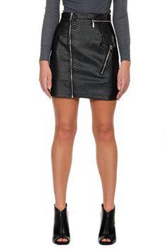 Snake Embossed Mini Skirt - Black – Maniere De Voir