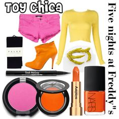 """""""Five nights at Freddy""""s inspired outfits #11 Toy Chica"""" by tortured-puppet on Polyvore"""