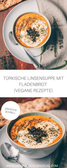 Türkische Linsensuppe und frisch gebackenes Fladenbrot - so kann doch ein Abend gut ausklingen, oder? Geht aber auch als Frühstück oder Mittagessen. Beide Rezepte - für die Suppe und das Brot - sind vegan und sehr unkompliziert umgesetzt. Her mit der orangenen Freude!