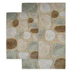 #5: Chesapeake 2-Piece Pebbles 21-Inch by 34-Inch and 24-Inch by 40-Inch Bath Rug Set, Spa.