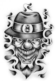 it like this one this i true Mexican art when i drawing this i got scared that damn i cN DRAW THIS SWEET the joker of all cholo's Gangster Tattoos, Chicano Tattoos, Chicano Art, Skull Tattoos, Body Art Tattoos, Jester Tattoo, Clown Tattoo, Dark Art Drawings, Tattoo Design Drawings