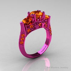 Nature Inspired 14K Pink Gold Three Stone Orange by artmasters, $2899.00
