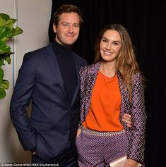 Dapper Dan: Posing up with his wife Elizabeth Chambers, the dashing 31-year-old Armie wore...
