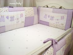 Kit berço lilás patchwork varal de roupas - Iroma Baby