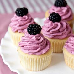 Lemon Cupcakes with Blackberry Buttercream Frosting -could be one of the best cake recipes ever!! Super moist and not too lemony!