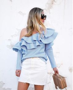 Sexy One Shoulder Ruffles Striped Blouse Shirt