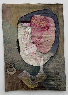 Greta Bratescu - Portrait_of_medea_3_1980__colored_sewing_on_textile_90x60_cm