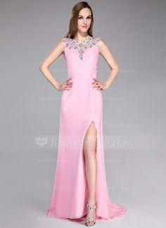 Prom Dresses - $139.99 - A-Line/Princess Scoop Neck Sweep Train Chiffon Tulle Prom Dress With Beading Split Front (017041118) http://jenjenhouse.com/A-Line-Princess-Scoop-Neck-Sweep-Train-Chiffon-Tulle-Prom-Dress-With-Beading-Split-Front-017041118-g41118