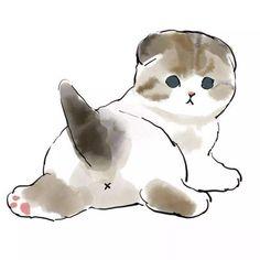 Cute Little Kittens, Kittens Cutest, Cats And Kittens, Cute Cats, Cute Cartoon Drawings, Cute Animal Drawings, Kitten Drawing, Dibujos Cute, Watercolor Cat