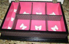 Casamento: interior de caixa para madrinhas ou mães, com divisórias e aplicação de scrap- 3