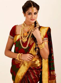 maroon-and-green-pure-silk-bridal-saree for Women From Klasyy Fashion For more visit @ http://indianfashionhub.wordpress.com/2014/07/05/the-charm-of-silk-sarees/