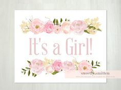 {This listing is for *lovely* digital Instant Downloads which you download from your Etsy account and print yourself. It is sold As Is, does not include any revisions or customizations, and is non-refundable. Sweet and simple!}  Its a Girl! This 8x10 printable watercolor floral sign is absolutely gorgeous and the perfect touch for your gender reveal, baby shower, or prop for maternity photos.  Need more floral signage to complete your event's look?…