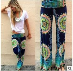pants Female Flare Boho Summer Elastic High Waist Pants Wide Leg Pants Trouser