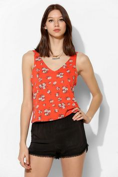 UO Printed Double-V Tank Top #urbanoutfitters