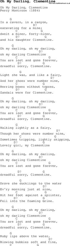 Childrens Songs and Nursery Rhymes, lyrics with chords for guitar, banjo etc for song oh-my-darling,-clementine