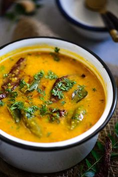 Hyderabadi Khatti Dal is thick, flavorful curry made using masoor or toor dal. It is tangy and seasoned with curry leaves and mustard.