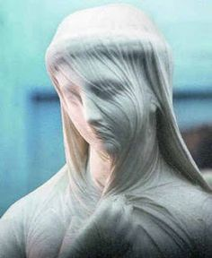 The Veiled Rebecca.  High Museum, Atlanta....the veil looks like real cloth....amazing...