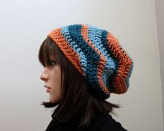 Zigzag Slouchy Beanie  Unexpected Unique Color by Threadmill, $29.00
